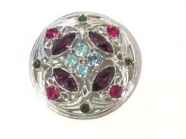 Vintage costume jewelry rhinestone signed Sarah Cov brooch - $12.00