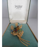VAN DELL 12K Gold Filled Floral BROOCH Pin with Original Box - 3 3/4 inches - $75.00