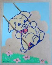 "1940s Puppy Swinging Print on Paper Nursery Children Decor 8.5"" x 10.5"",... - $11.87"