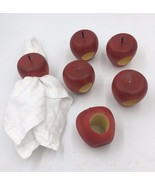 Red Whole Large Apple Wood Set of 6 Autumn Fall Harvest Napkin Rings NR - $19.95
