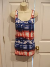 Nwt Faded Glory 4TH Of July Patriotic Cotton Tunic Tank Top Medium 8-10 - $14.84
