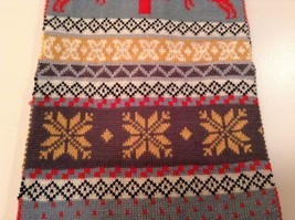 Red Gray Brown Yellow Striped Deer reindeer Tree Knit Scarf w Pom Poms Winter image 2