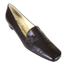 Salvatore Ferragamo 7 3A AAA Brown Leather Low Heels Gancini Boutique Italy - $63.18 CAD