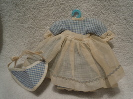 Vintage Ginger Doll Blue Gingham Dress With Apron and Matching Hat - $15.99