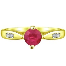 Round Natural Ruby & Natural Diamond Solitaire Ring .96 tcw Solid 14k Ye... - $330.00