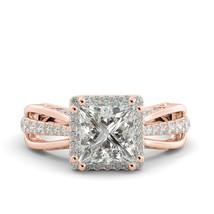 3.83 Princess Brilliant Moissanite & Natural Diamond Engagement Ring 18k R Gold - $2,760.00