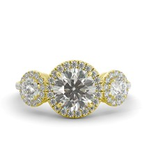 3.75 ct Round Cut One Moissanite & Diamond 3 Stone Engagement Ring 18k Y Gold - $2,641.00