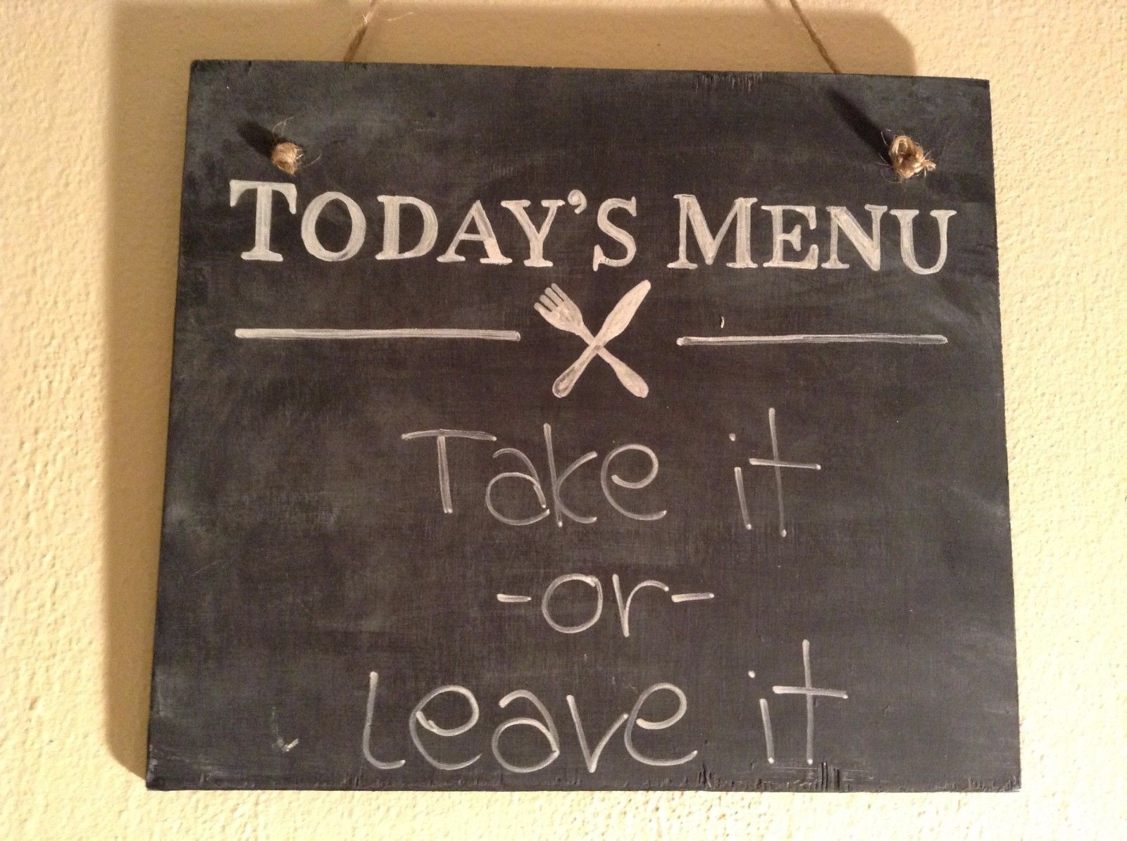Elf Works Lane Satellite  Workshop Wood Sign Today's Menu Take it or Leave It