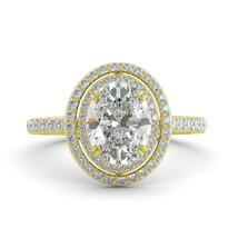 3.76 ct Oval C&C Classic Moissanite & Diamond Halo Engagement Ring 14k Y Gold - $1,959.00