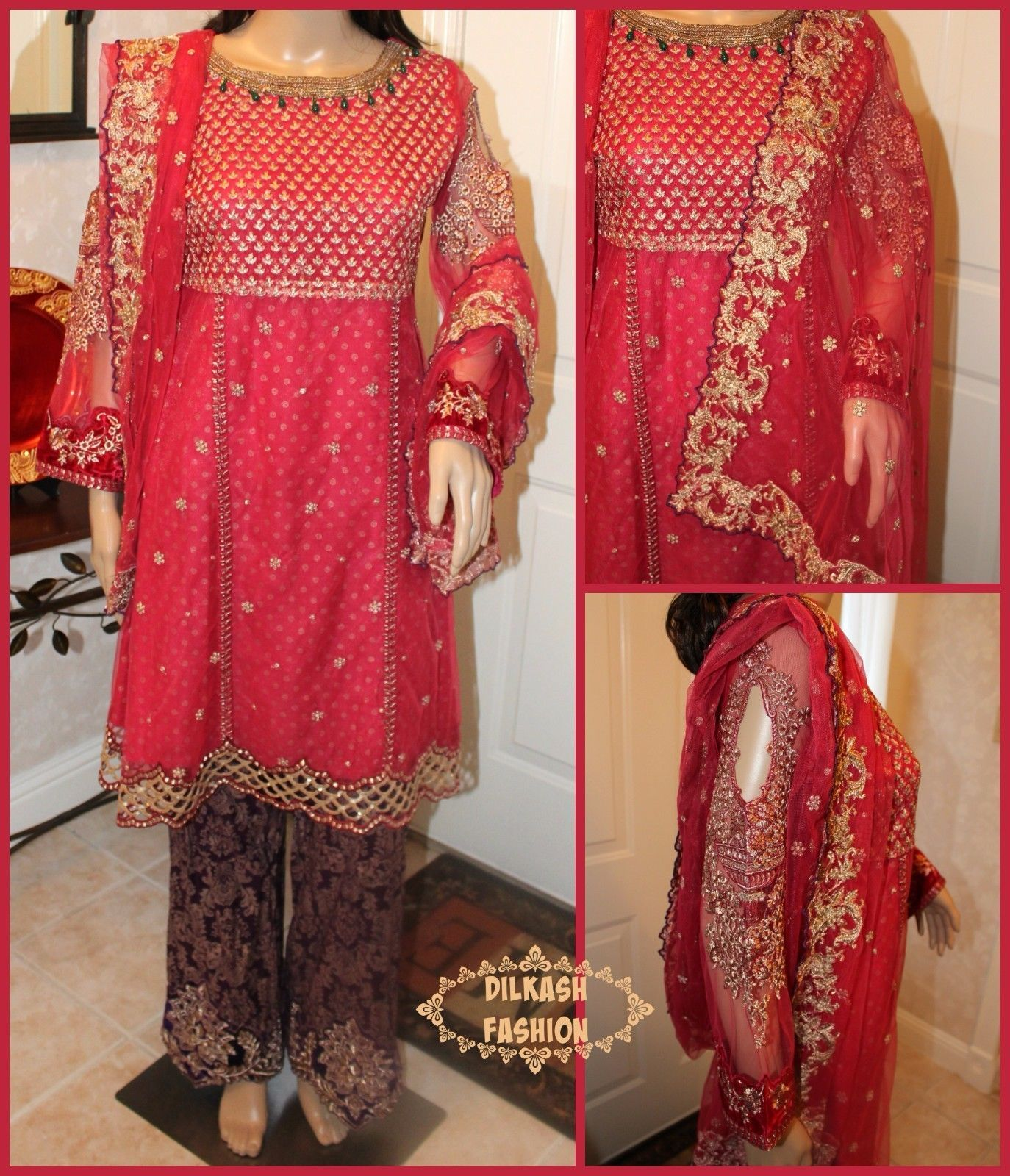 Primary image for Pakistani Pink Frock Style Shirt Net Suit w/ Threadwork, Sequins & Pearls, 3-pc