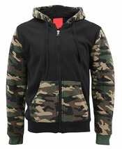 MX USA Men's Army Camo Zip Up Sherpa Hoodie Fleece Hunting Sweater Jacket - L