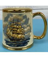 Gibson Staffordshire England Sailing Ship Tankard Mug Gold Rimmed Vintag... - $25.55