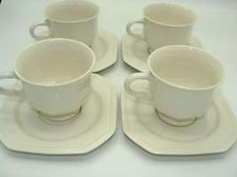Set of 4 Footed Cup & Saucer Set Continental White F3000 by MIKASA - $16.08