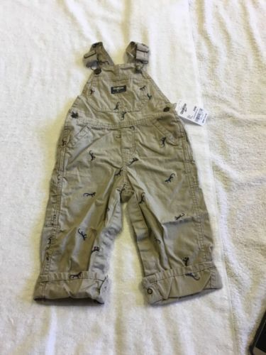 6608d730e1be BABY BOY OSHKOSH B GOSH EMBROIDERED LIZARD OVERALLS SIZE 24M NWT