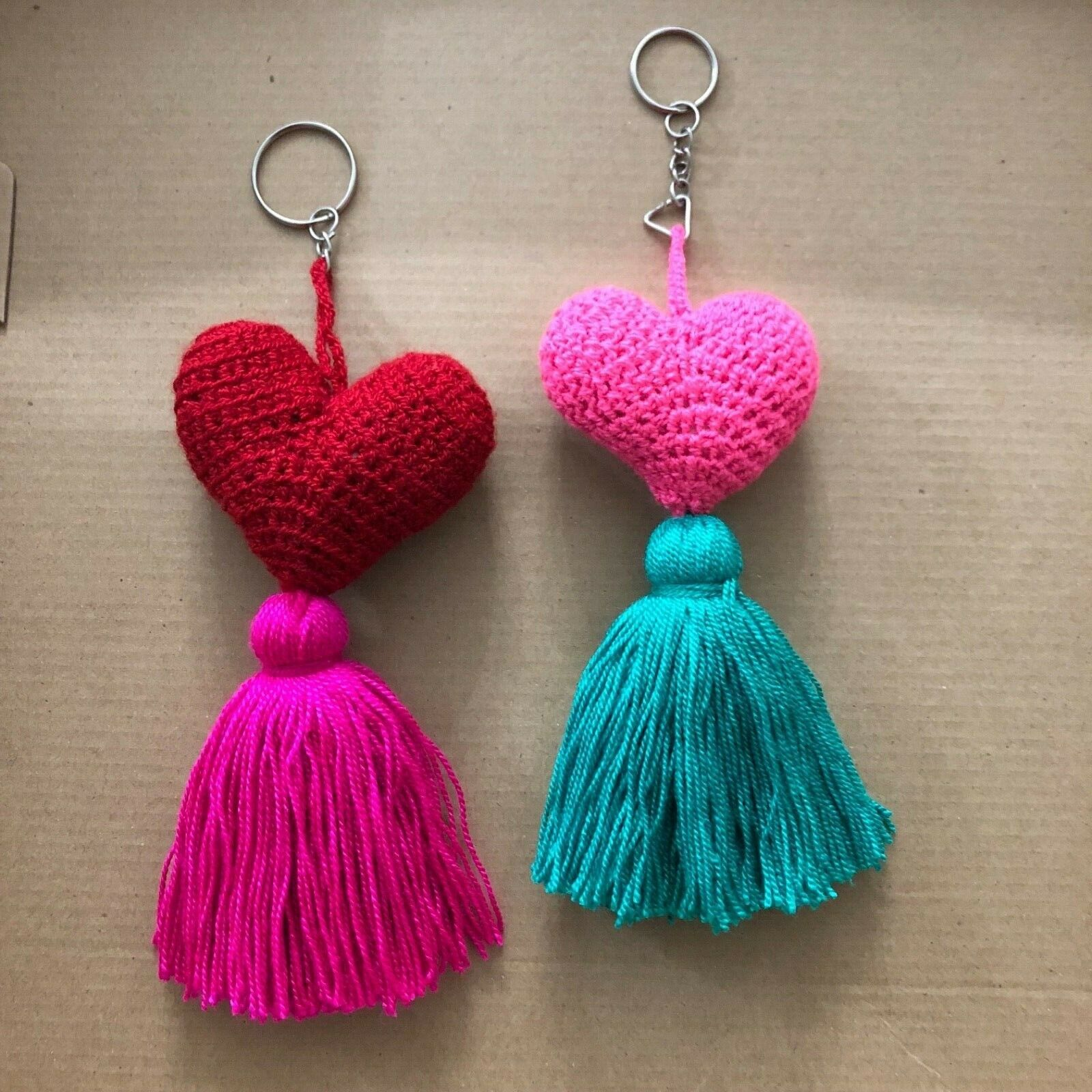 2 Pcs Wayuu Colorful Heart Tassel Keychain (set #3)