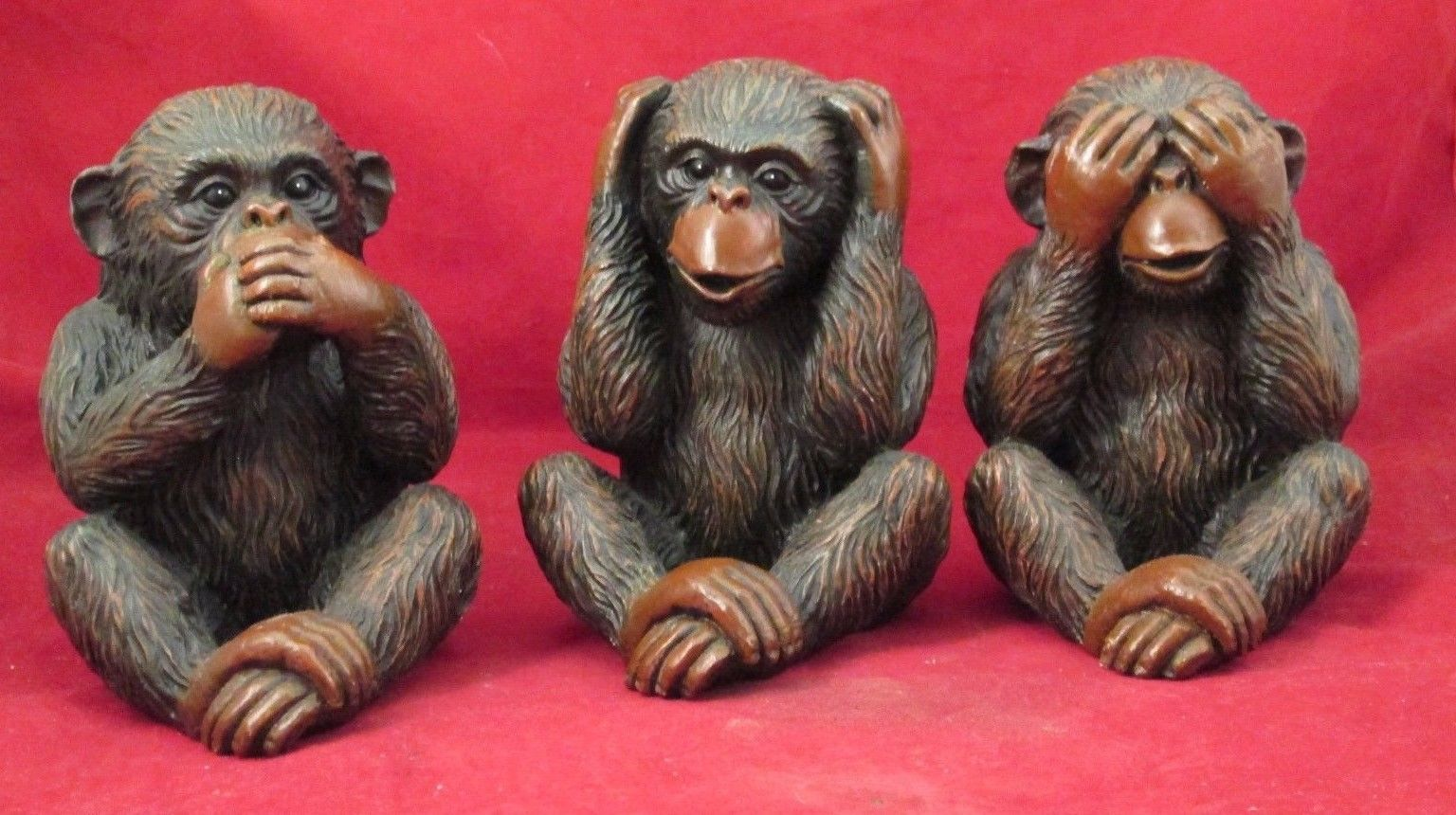 ELEPHANT AND FROG SEE NO MONKEY SET OF 4 PIG SPEAK NO EVIL SET HEAR NO