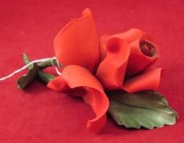 CAPIDOMONTE; ROSY-RED ROSE PORCELAIN FIGURINE - $22.50