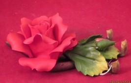 CAPIDOMONTE; BRIGHT-RED ROSE PORCELAIN FIGURINE - $20.00