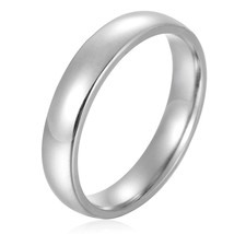 4mm Stainless Steel Womens Mens Plain Wedding Band Ring Polished Charm S... - $19.95