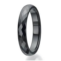 4mm Black Ceramic Ring Wedding Band Comfort Fit; Faceted Design; 4-16 & ... - $44.95