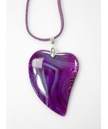 Agate Heart Pendant Necklace Purple / Aqua Stone  ~ Unique Jewelry Gift ... - $6.50