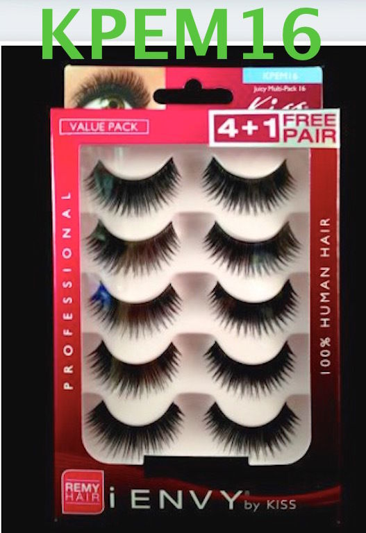 I ENVY BY KISS EYELASHES JUICY MULTI PACK 16- KPEM16 VALUE PACK 100% HUMAN HAIR