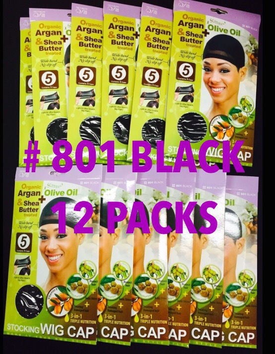 LOT OF 12 PACKS OF QFITT 3-IN-1 TRIPLE NUTRITION STOCKING WIG CAP BLACK #801