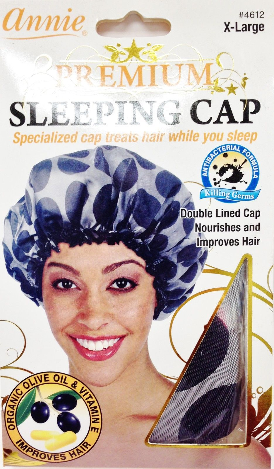ANNIE PREMIUM SLEEPING CAP DOUBLE LINED CAP NOURISHES HAIR X-LARGE #4612  DOTS