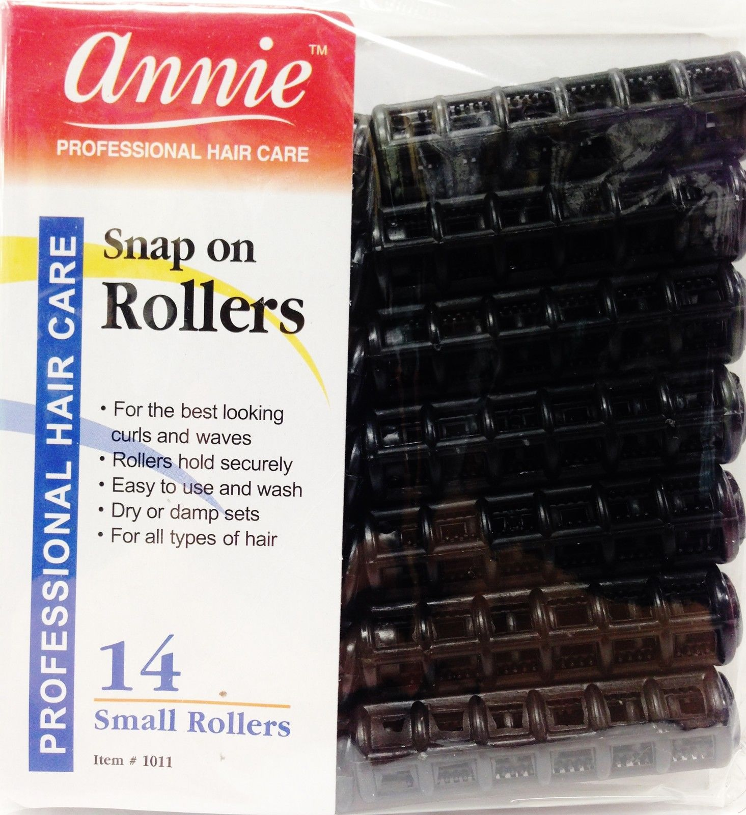 "ANNIE SNAP ON ROLLERS 14 SMALL ROLLERS 1/2"" NO PINS OR CLIPS NEEDED BLACK #1011"