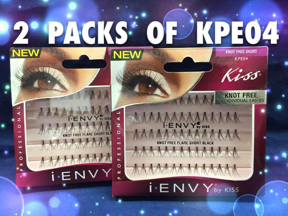 LOTS OF 2 PACKS OF I ENVY BY KISS KNOT FREE SHORT INDIVIDUAL EYELASHES # KPE04