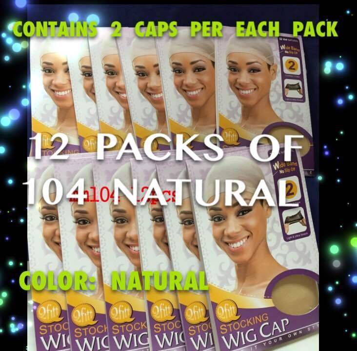 LOTS OF 12 PACKS QFITT STOCKING WIG CAP W/ WIDE BAND 2CAP/EACH # 104 NATURAL