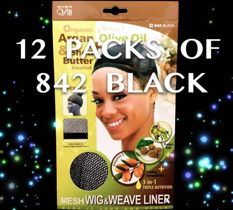 LOT OF 12 PACKS OF QFITT OPEN TOP MESH WIG & WEAVE LINER BLACK #842