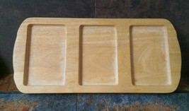 3 slot wooden serving tray with  handles 16 x 7... - $15.47
