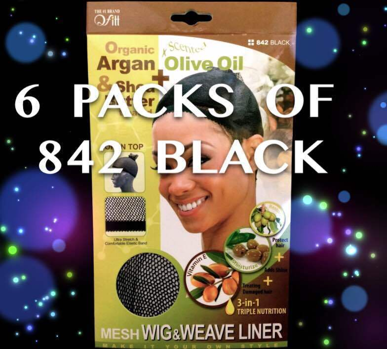 LOT OF 6 PACKS OF QFITT OPEN TOP MESH WIG & WEAVE LINER BLACK #842