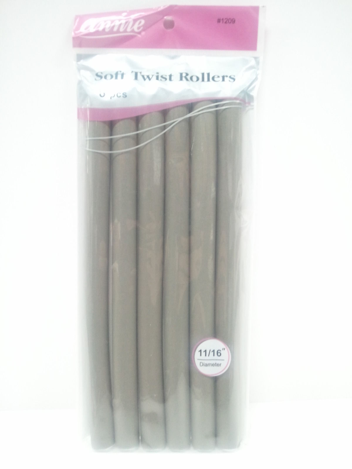 "ANNIE SOFT TWIST ROLLERS #1209 TOTAL 6PCS 11/16"" DIAMETER  10"" LONG"