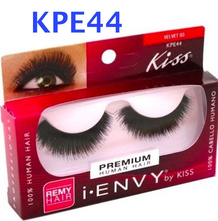 I ENVY BY KISS EYELASHES VELVET 03-  KPE44 100% HUMAN HAIR FULL STYLE LASHES