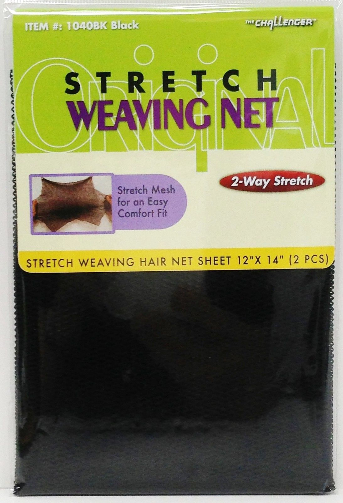 "2 PIECES STRETCH WEAVING NET 2 WAY STRETCH #1040BK BLACK 12""X14"" THE CHALLENGER"