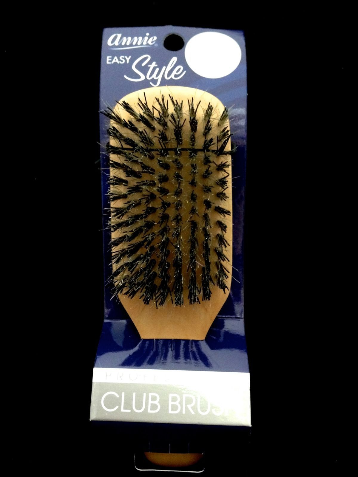 "ANNIE EASY STYLE CLUB BRUSH W/ REINFORCED BOAR BRISTLE 7"" 9 ROWS #2191"