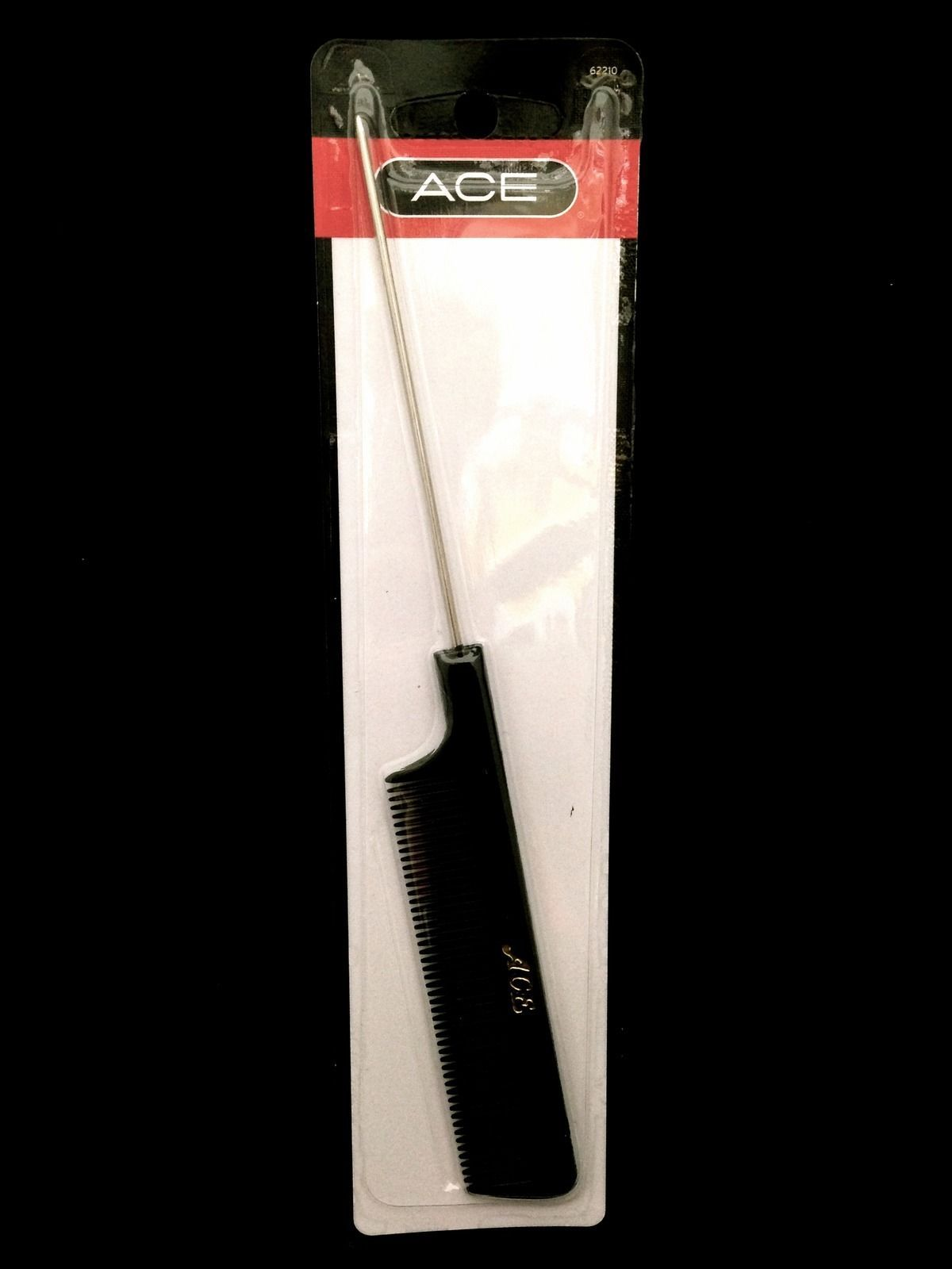 "ACE CURLING AND TEASING COMB W/ METAL TIP 8.5""x1"" #62210"