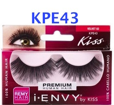 I ENVY BY KISS EYELASHES VELVET 02 ( KPE43 )100% HUMAN HAIR FULL STYLE L... - $2.92