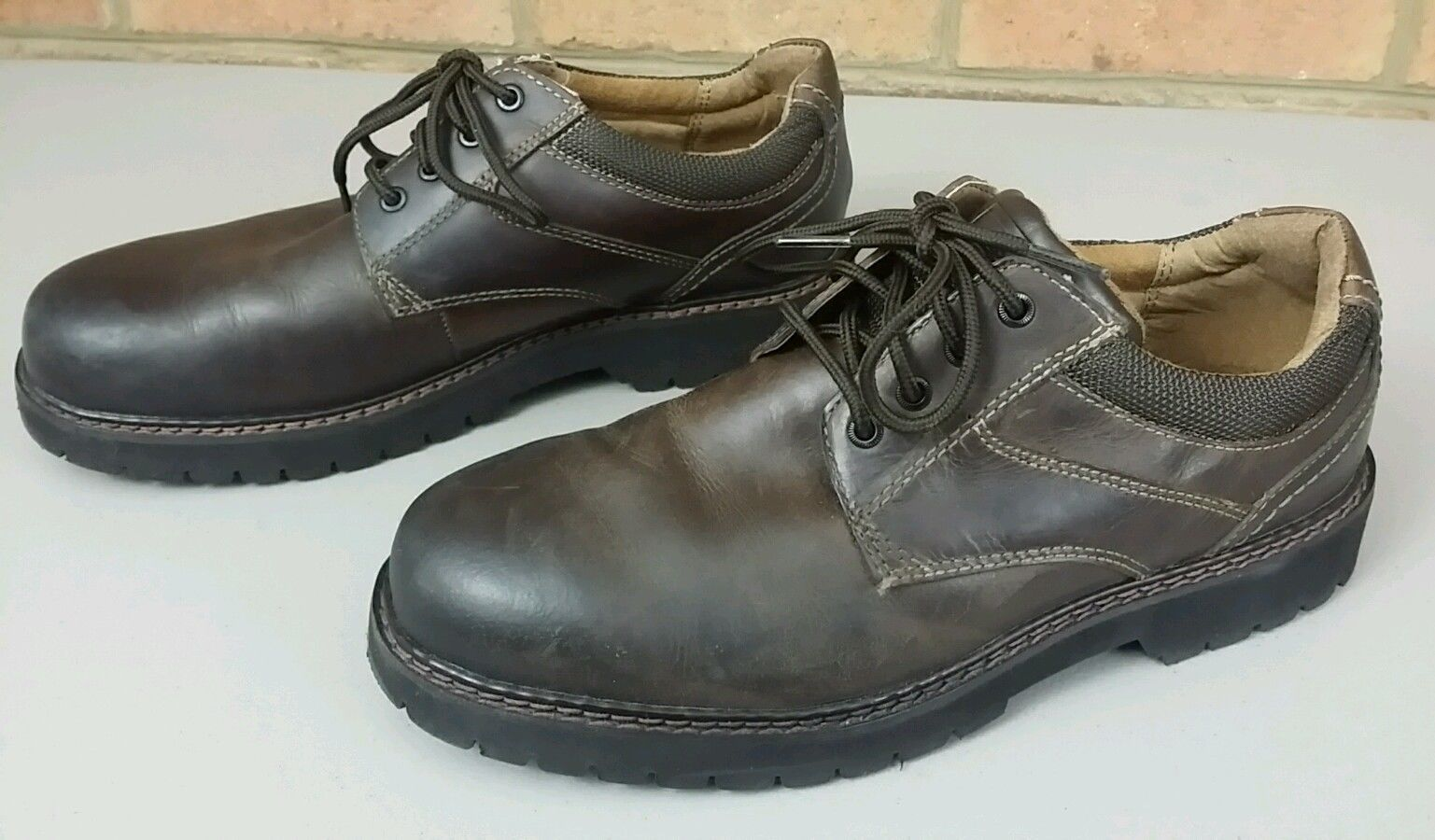 0f0f558e890 DOCKERS Solid Brown Leather Waterproof Stain Defender Oxfords Sz 9 M