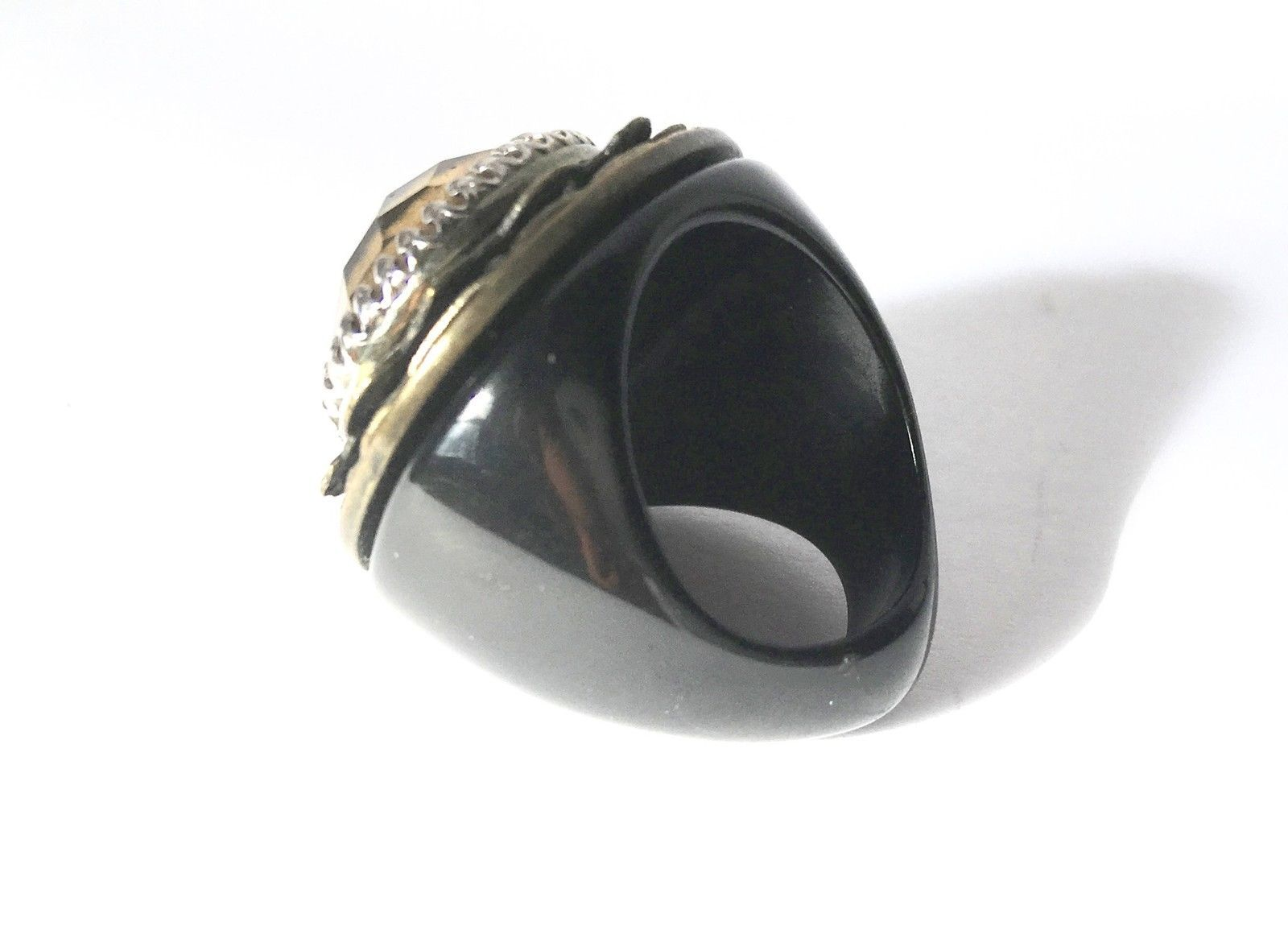 Primary image for Unique Cocktail Ring Golden Top Black Plastic Band Size 6.5 Massive Statement Je