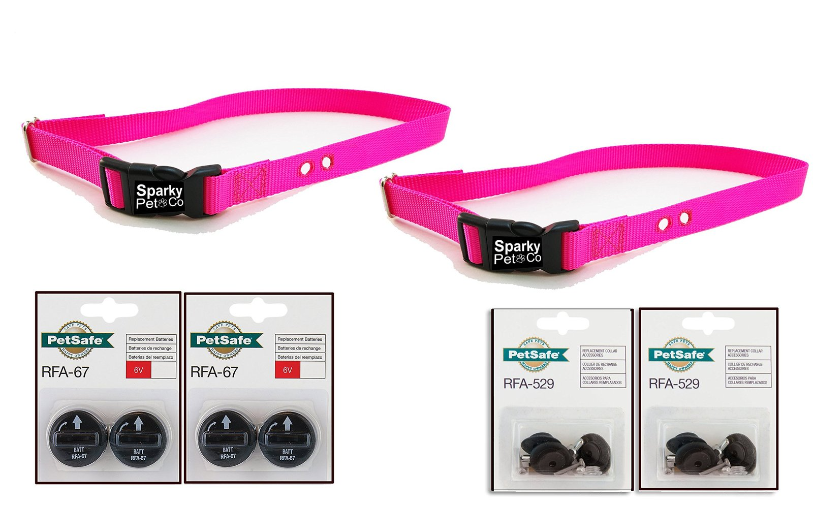 "Sparky PetCo 2 3/4"" Heavy Duty Neon Pink Dog Straps with 2 RFA 529 Kits & 4 R..."