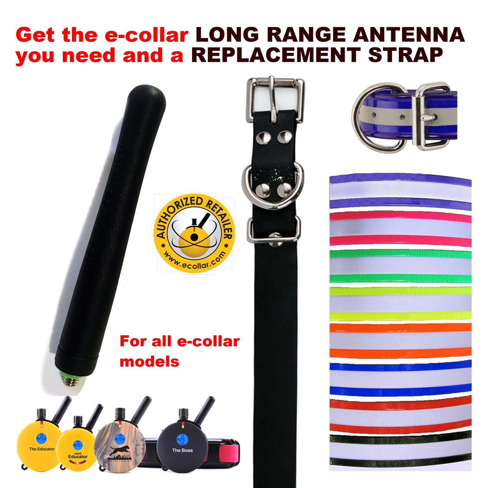 Educator E Collar Neon Red Reflective Replacement Strap and Long Range Antenn...
