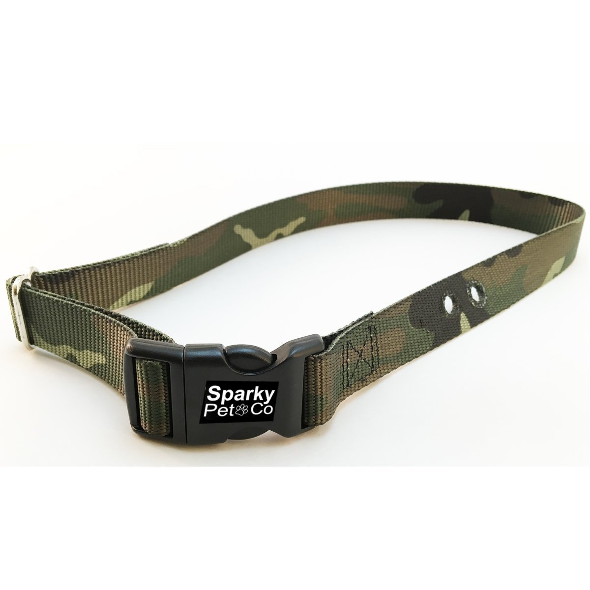 "Sparky PetCo Large Camo Green Heavy Duty 1"" Nylon Replacement Strap 2 Holes 1.25"