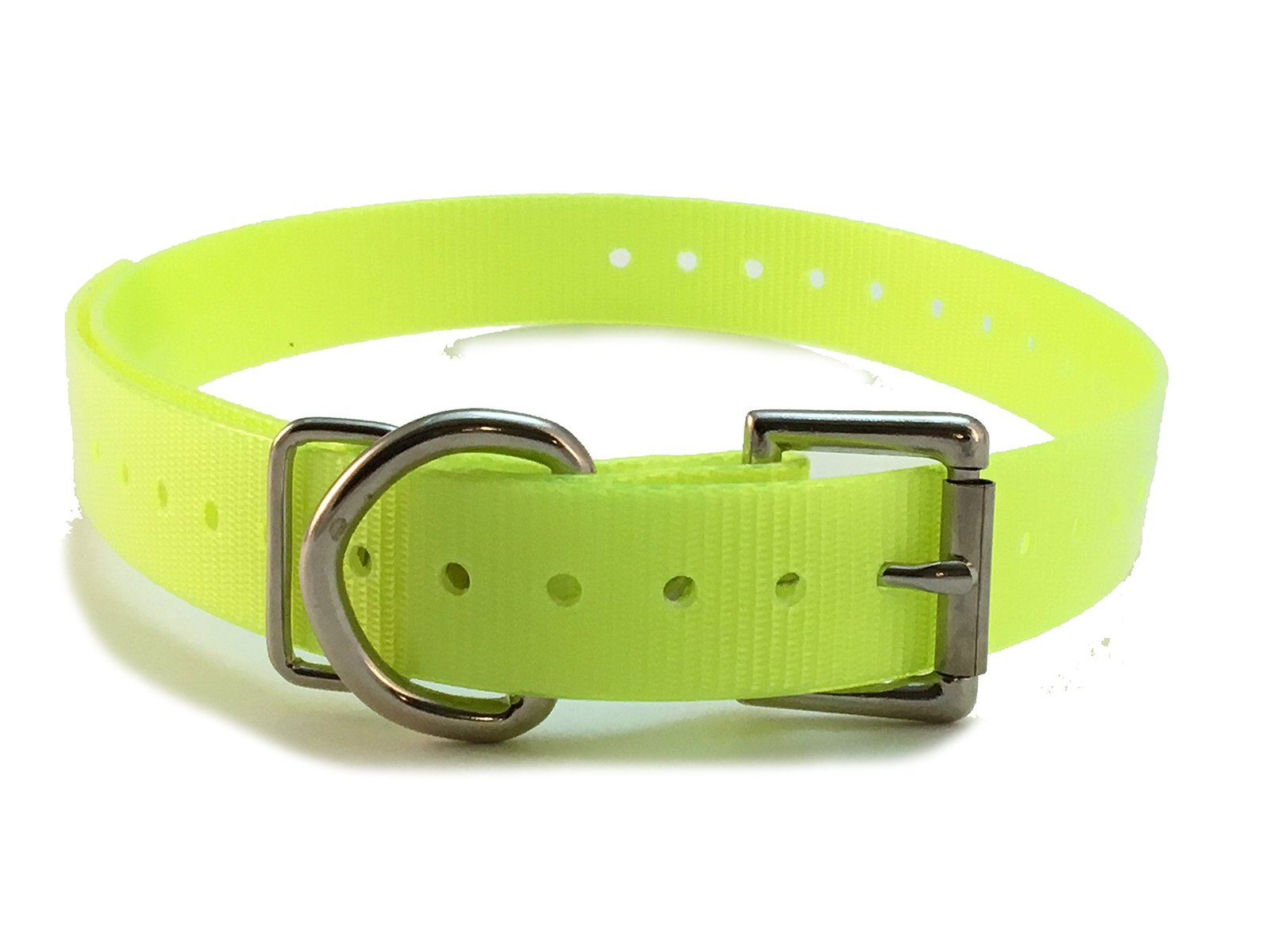 E Collar Compatible 3/4' High Flex Waterproof Roller Buckle Dog Strap, Neon Yell