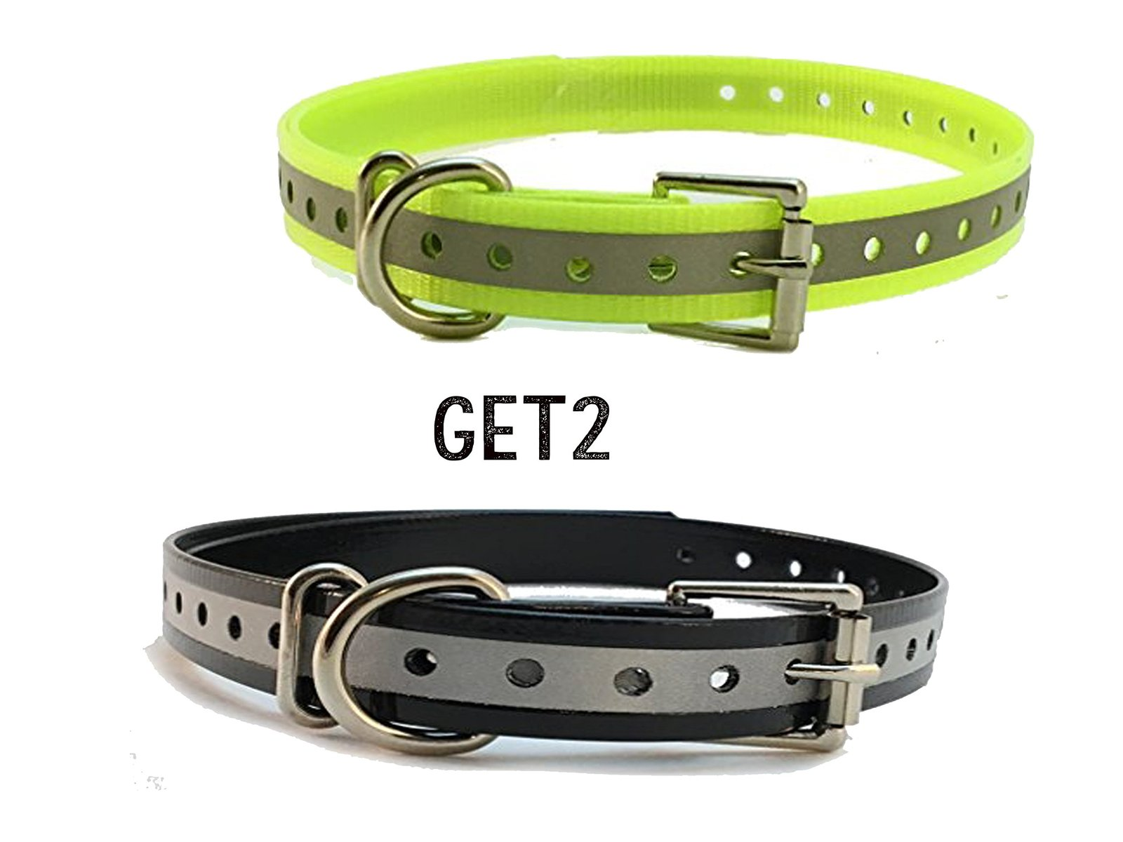"Sparky PetCo 3/4""Reflective Black & Blue Roller Buckle High Flex Dog Strap Fo..."
