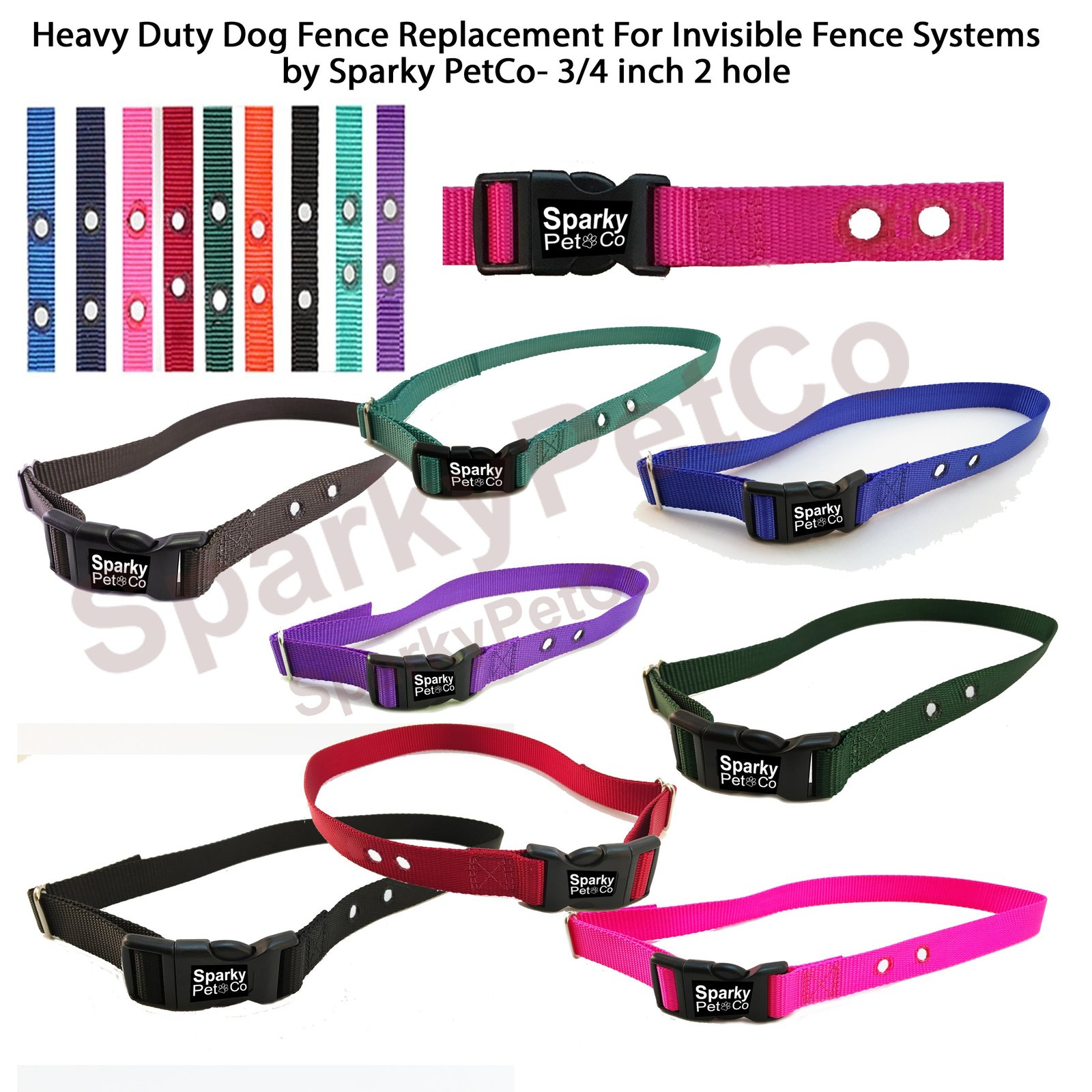 "Heavy Duty Dog Fence Replacement Nylon Receiver Strap 3/4"" 2 hole Compatible ..."