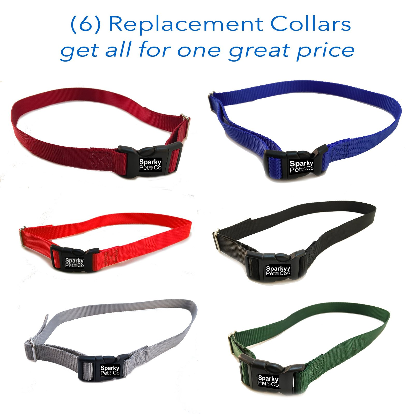 "3/4"" SOLID Boy Dog Colors Receiver Replacement Straps- Set of 6 Wireless Stra..."