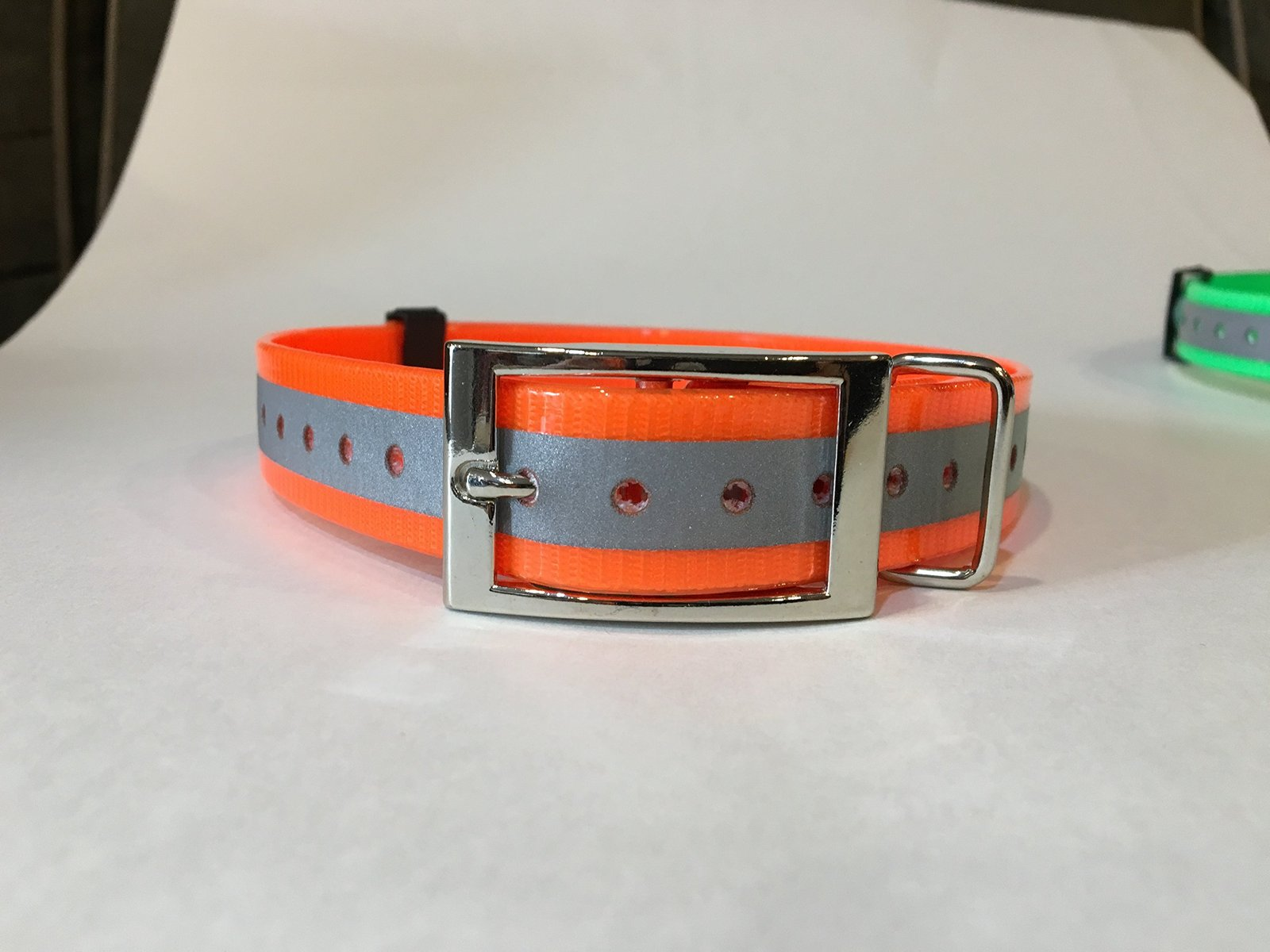 "SparkyPetCo 3/4"" Reflective Orange Square Buckle High Flex Reflective Dog Str..."